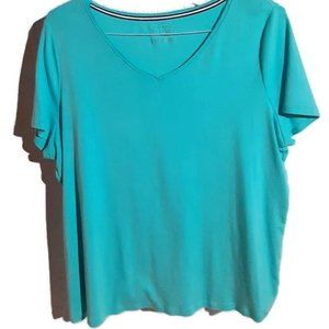 Talbots Womens V-Neck T-Shirt Size Teal Size 2X